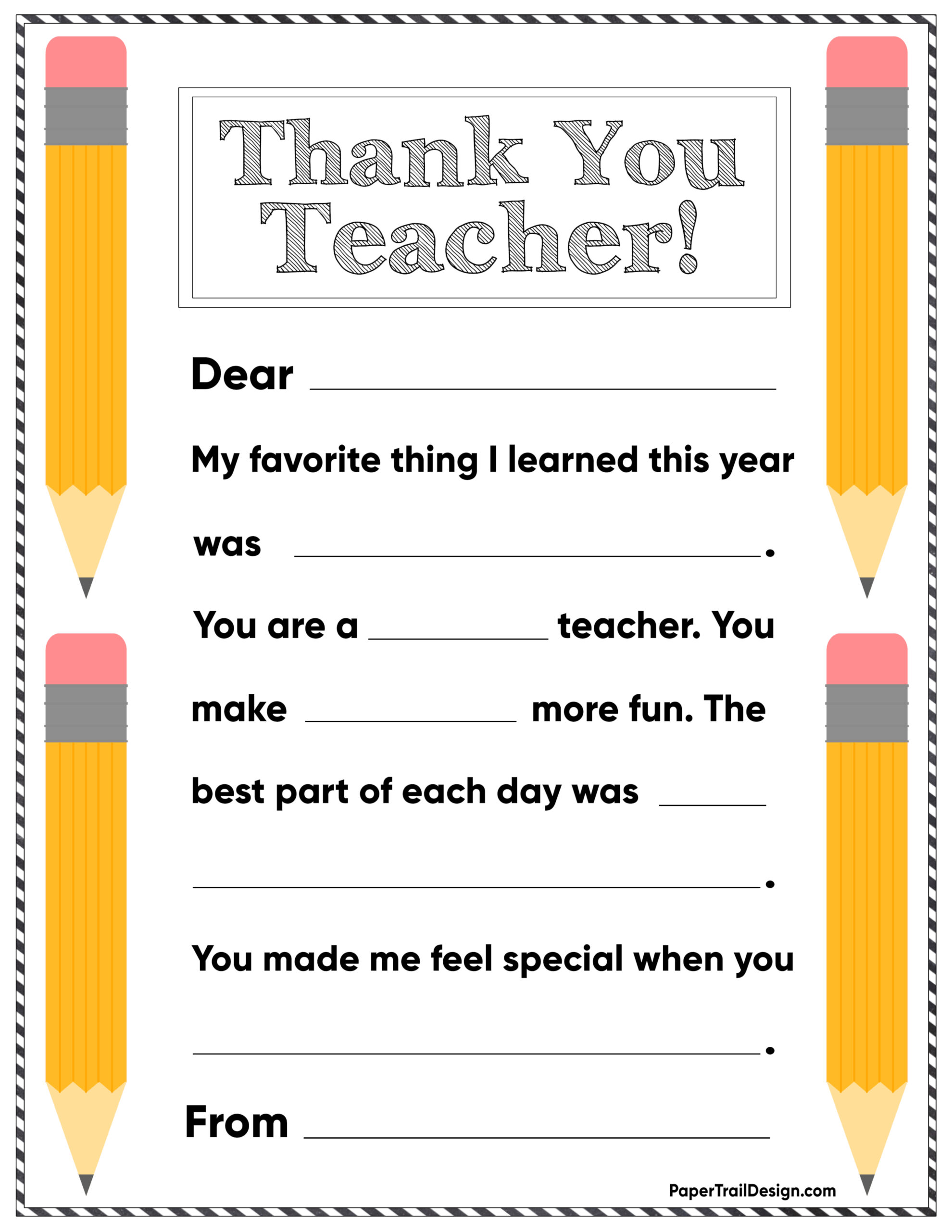 Free Printable Thank You Card Teacher  Paper Trail Design Inside Thank You Card For Teacher Template