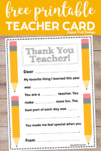 Cute teacher thank you card fill in for kids with text overlay- free printable teacher card.
