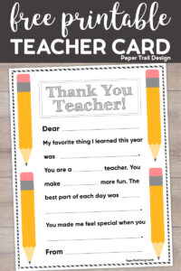 Printable teacher thank you note with pencil decorations with text overlay- free printable teacher card.