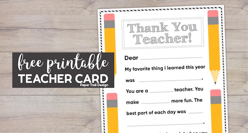 free printable thank you card teacher  paper trail design