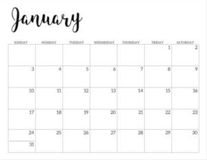 January 2021 calendar page -basic