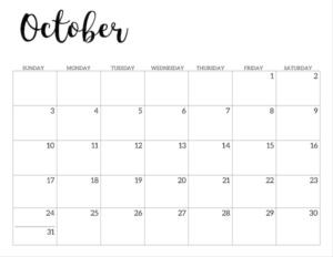 October 2021 calendar page -basic