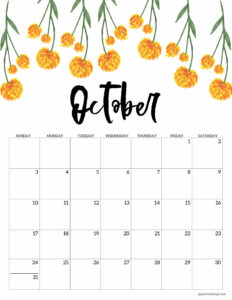 October 2021 Floral Calendar page with yellow orange flowers