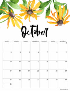 October 2021 calendar page with yellow flowers