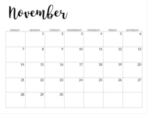 November 2021 calendar page -basic