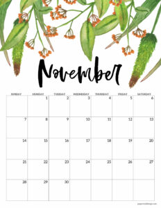 November 2021 Floral Calendar page with orange flowers