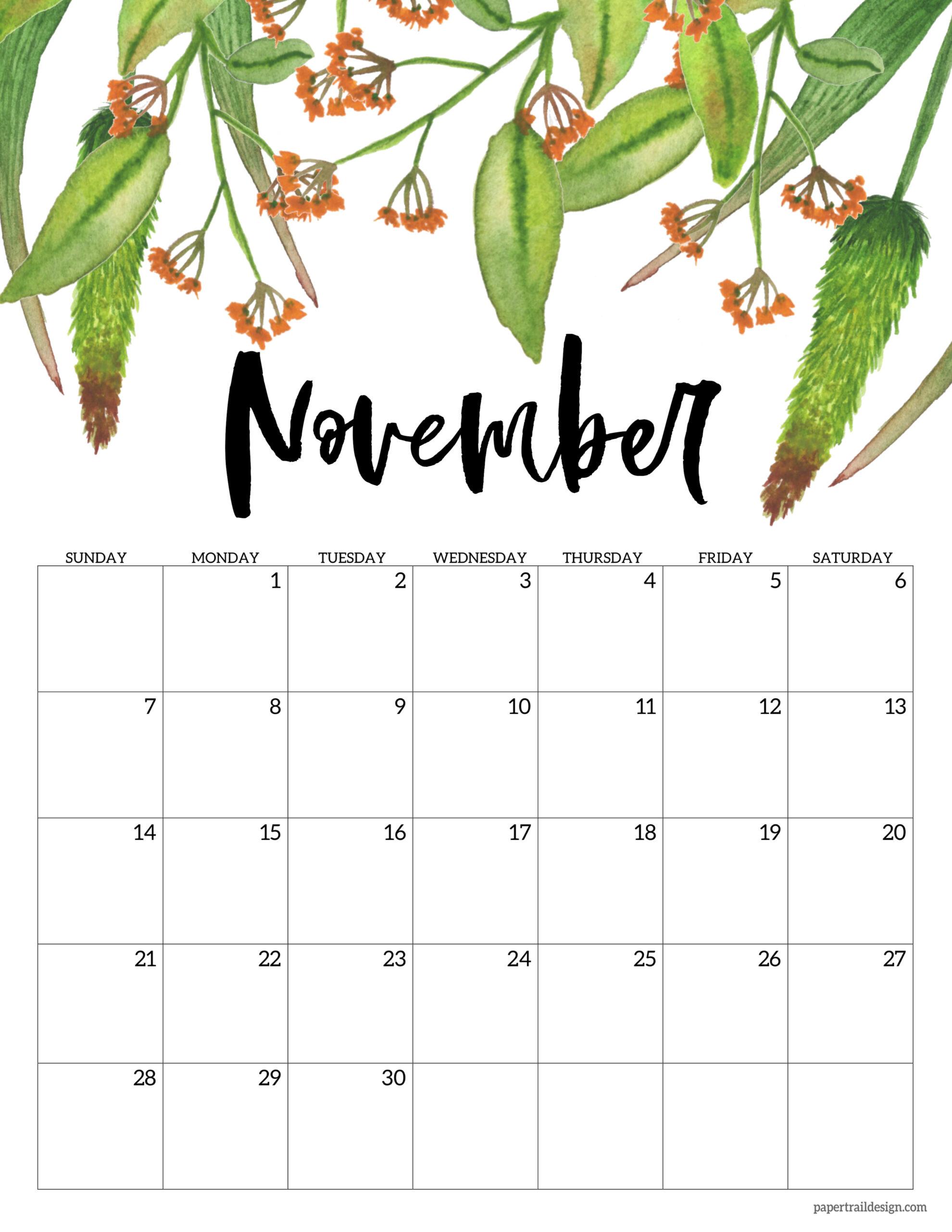 Cute November 2021 Calendar Free Printable 2021 Floral Calendar | Paper Trail Design