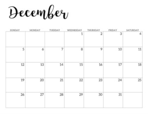 December 2021 calendar page -basic