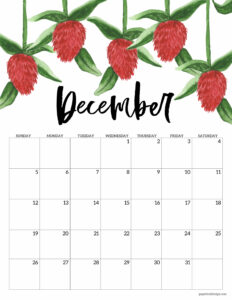 December 2021 Floral Calendar page with red flowers
