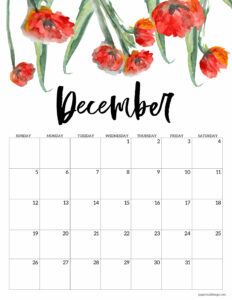 December 2021 calendar page with red flowers