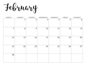 February 2021 calendar page -basic