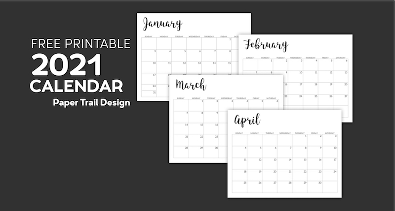 2021 Calendar Printable Free Template | Paper Trail Design