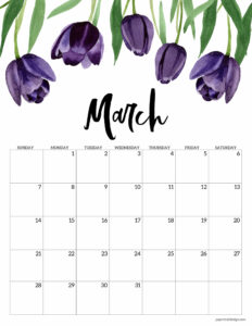 March 2021 calendar page with purple tulip flowers