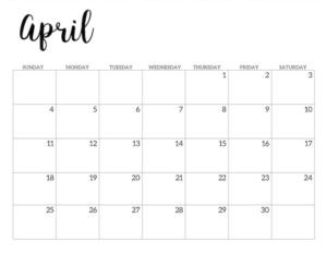 April 2021 calendar page -basic