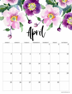April 2021 Floral Calendar page with purple flowers