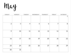 May 2021 calendar page -basic