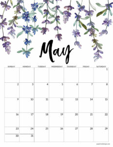 May 2021 calendar page with purple lavendar flowers