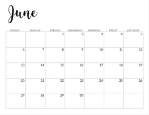 June 2021 calendar page -basic