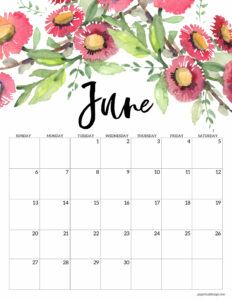 June 2021 Floral Calendar page with pink flowers