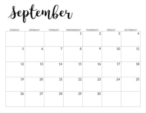 September 2021 calendar page -basic
