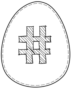 Printable Easter egg with symbol # on it