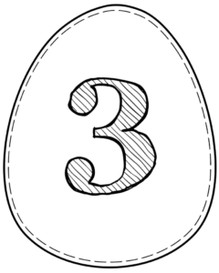 Printable Easter egg with number 3 on it