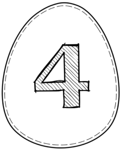 Printable Easter egg with number 4 on it