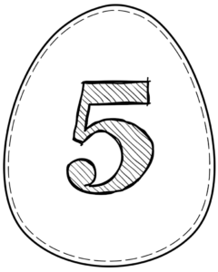 Printable Easter egg with number 5 on it