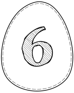 Printable Easter egg with number 6 on it
