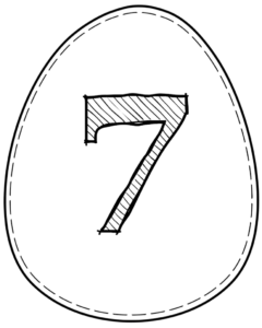 Printable Easter egg with number 7 on it