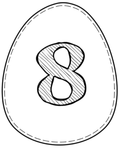 Printable Easter egg with number 8 on it