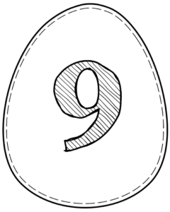 Printable Easter egg with number 9 on it