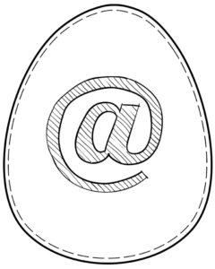 Printable Easter egg with symbol @ on it