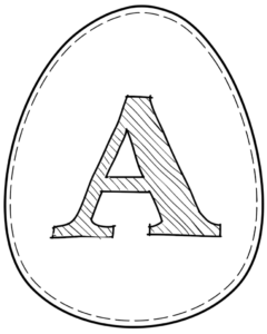 Printable Easter egg with letter A on it