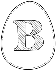 Printable Easter egg with letter B on it