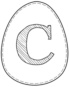 Printable Easter egg with letter C on it