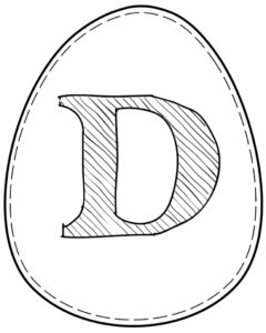 Printable Easter egg with letter D on it
