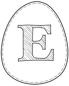Printable Easter egg with letter E on it