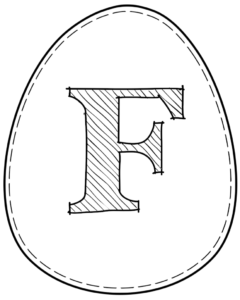 Printable Easter egg with letter F on it