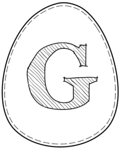 Printable Easter egg with letter G on it