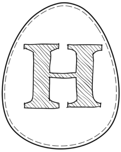 Printable Easter egg with letter H on it