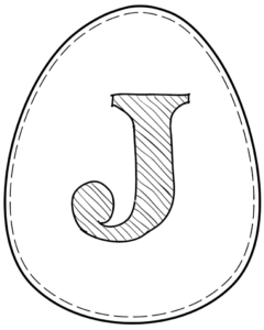 Printable Easter egg with letter J on it