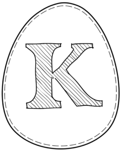 Printable Easter egg with letter K on it