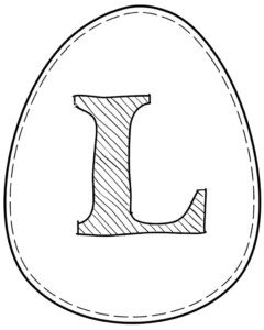 Printable Easter egg with letter L on it