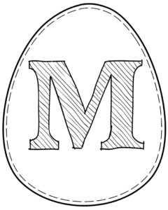 Printable Easter egg with letter M on it