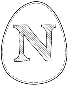 Printable Easter egg with letter N on it