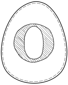 Printable Easter egg with letter O on it