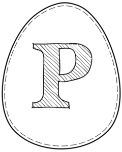 Printable Easter egg with letter P on it