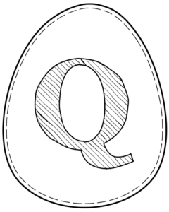 Printable Easter egg with letter Q on it