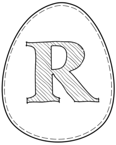 Printable Easter egg with letter R on it
